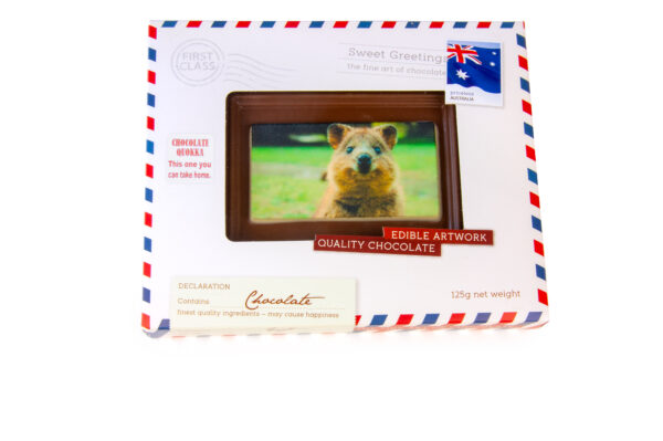 Milk chocolate Quokka Postcard. Milk chocolate base with a white chocolate white background. Printed with a edible graphic.