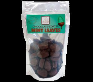 Chocolate coated mint leaves